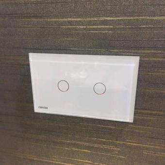 สวิตซ์ไฟอัจฉริยะแผง2ปุ่มควบคุมด้วยรีโมท (สีขาว)