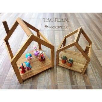 TACTEAM Set บ้านไม้ (2 ชิ้น) Mini-Furniture ไม้สักแท้ บ้านไม้/บ้านตุ๊กตา สำหรับประดับตกแต่ง บ้านไม้สำหรับวางต้นไม้ดอกไม้ประดับตกแต่งสวน จะวางไว้กับพื้นหรือแขวนก็ได้ เก๋ๆผลิตและจัดจำหน่ายโดย... TACTEAM  woodwork