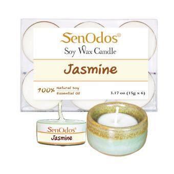 Tealight Set Jasmine Soy Candles + Candle Holder Set