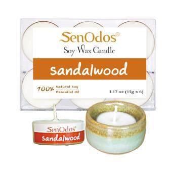Tealight SetSandalwood Soy Candles + Candle Holder Set