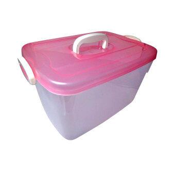 Thai Style กล่องพลาสติกเกรดAฝาล็อคหิ้วได้ สีชมพู