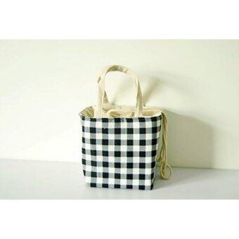 TIPS2KEEP กระเป๋าใส่กล่องอาหาร เก็บความร้อน/เย็นทรงสี่เหลี่ยมจัตุรัส ผ้าด้ายดิบลายสก็อตสีขาวดำ (Lunchbox Pouch)