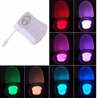 ขายด่วน Toilet LED Light Bowl Motion Detection Sensor Automatic BathroomSeat Nightlight Lamp 8 Colors Changing