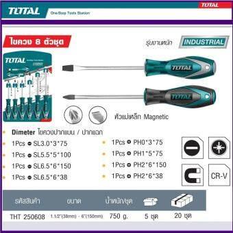 Total Hand Tool / Heavy Duty Screwdriver Model THT-250608 โททัลไขควง 8 ตัวชุด ปากแบน และปากแฉก แกนกลม หัวแม่เหล็ก สำหรับงานหนักผลิตจากเหล็ก โครมวานาเดียม ทนทาน ใช้งานง่าย ปลอดภัย มาตรฐานญี่ปุ่น1 แพ็ค 8 ชิ้น