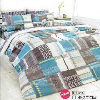 TOTO ชุดเครื่องนอนชุดผ้าปูที่นอน (รวมผ้านวม) ผ้าปูที่นอนโตโต้ ลายกราฟฟิค GRAPHIC ลายใหม่ ขายดี รหัส TT492 ขนาด 6ฟุต