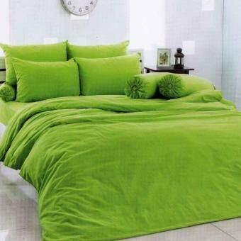 TOTOชุดเครื่องนอน ชุดผ้าปูที่นอนและปลอกหมอน(ไม่รวมผ้านวม)ผ้าปูที่นอนโตโต้ สีพื้นCOLOR PALETTEลายใหม่ ขายดี รหัส สีเขียว ขนาด5ฟุต