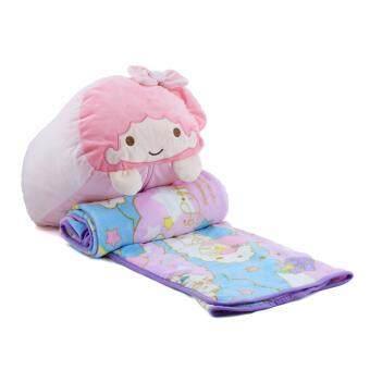 ตุ๊กตาหมอนผ้าห่ม Shunky Momo รุ่นตัวหนอน ขนาดเล็ก ลาย twin stars(สีชมพู)