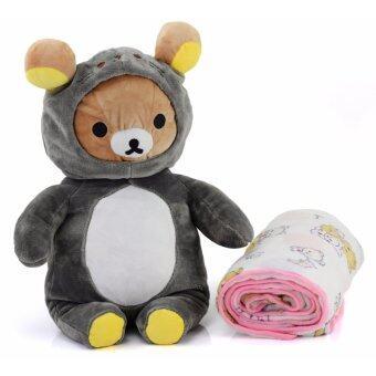 ตุ๊กตาผ้าห่ม หมี Rilaxkuma รุ่นสวมชุดแมวน้ำ Sirotan ขนาดเล็ก สีเทา