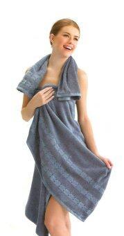 Tulip ชุดผ้าขนหนู (เช็ดตัว+เช็ดหัว) Towels Plus - สีฟ้าเทา (สองชิ้น)
