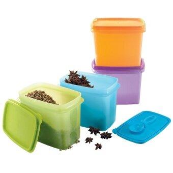 Tupperware กล่องเก็บอาหารทัพเพอร์แวร์ พร้อมช้อน 4 ใบ รุ่น สุดสงวน800 มล. (สีเขียว/สีฟ้า/สีเหลือง/สีม่วง)