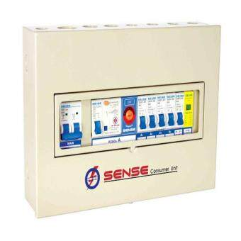 ตู้ควบคุมไฟฟ้า (ตู้คอนซูมเมอร์ยูนิต) ขนาด 4 ช่อง พร้อม เครื่องตัดไฟรั่ว (RCD) และอุปกรณ์ป้องกันฟ้าผ่า (Surge Protector Device) ในตัว เซนส์ รุ่น S4N1 ตู้