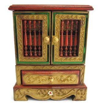 ตู้ใส่เครื่องประดับ 3 ลิ้นชัก ใส่ของจุกจิก ทำจากไม้สัก (สีทอง)