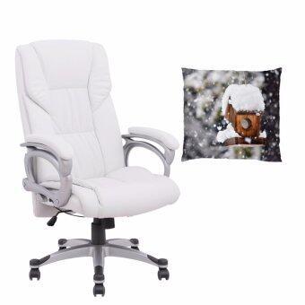 U-RO DECOR เก้าอี้สำนักงาน รุ่น HAMBURG (สีขาว) + หมอนอิงพิมพ์ลายรุ่น SNOWY HOUSE-B