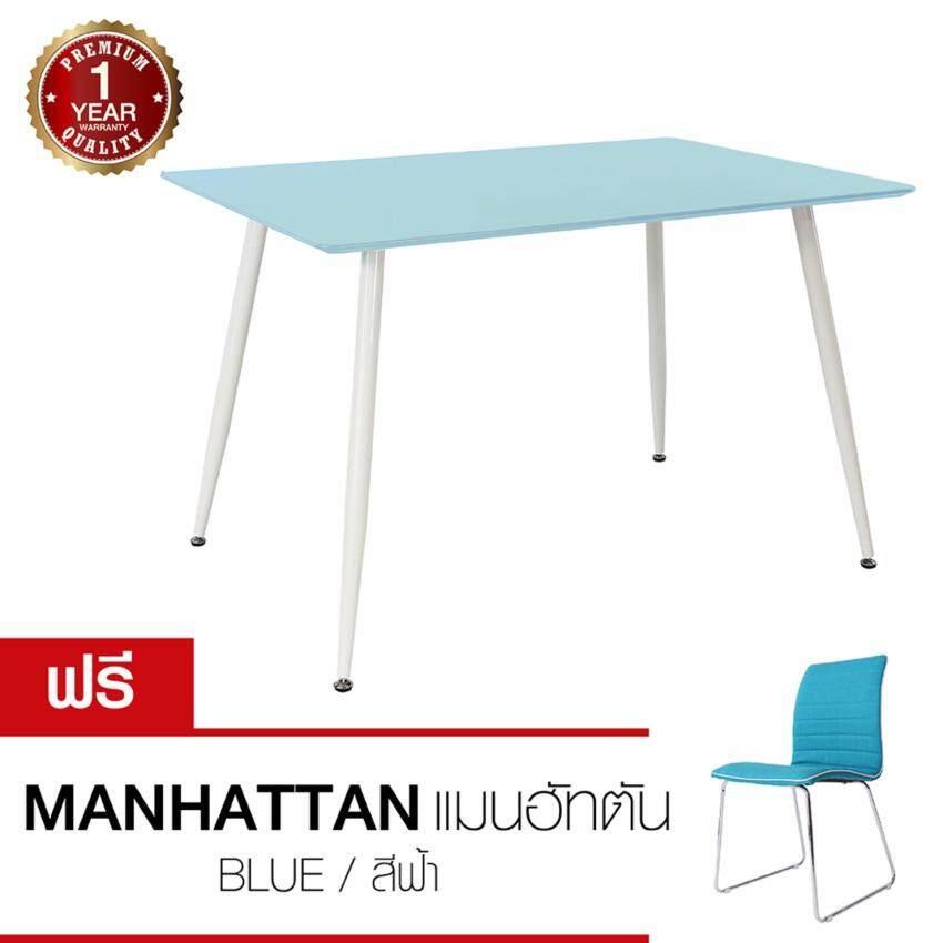 U-RO DECOR  โต๊ะรับประทานอาหาร รุ่น MARCO (สีฟ้า)แถมเก้าอี้อาหาร MANHATTAN สีฟ้าเทอร์คอยซ์ (ซื้อ 1 แถม 1)