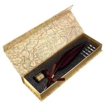 Vintage Dark Red Swan Feather Quill Metal Nib Brown Dip Pen Writing Ink Set Case NEW - intl