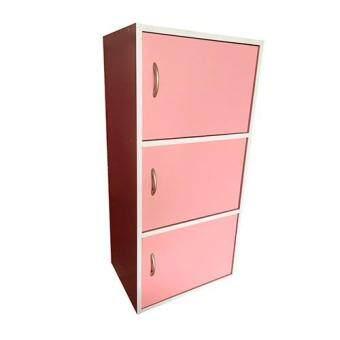 เปรียบเทียบราคา VV ตู้เก็บของอเนกประสงค์ มีบานประตู3ชั้น สีชมพู