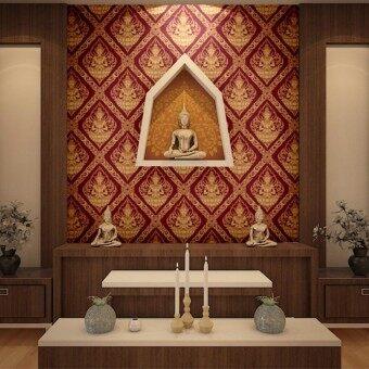 wallpaperลายไทย ลายเทพพนม สีแดง