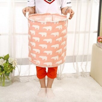 Waterproof Cotton Linen Laundry Basket Storage Bag Washing ClothesHamper Sorter (Pink po ...
