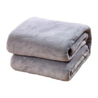 Whyus-Solid Color Soft Coral Velvet Blanket Warm Plush Bed Sofa Bedding 200*230cm (Grey) - intl