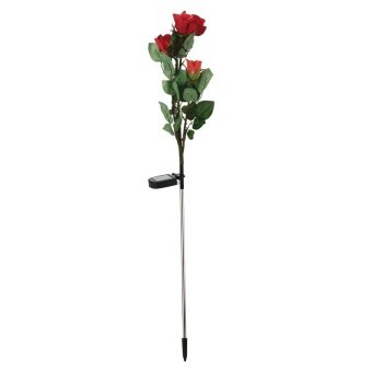 Womdee LED Solar Rose Artificial Flowers Simulation Flower,34x6.3 In,(red) with Case - intl