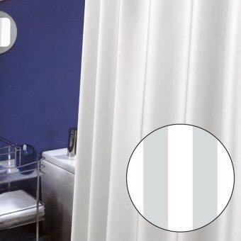 ผ้าม่านห้องน้ำ WSP - รุ่น SCP-9M SN2001 180x200 ซม. พื้นสีขาวลายทาง ผลิตจากโพลีเอสเตอร์-ซาติน ทอลาย