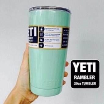YETI Rambler แก้วเก็บความเย็นนาน 24 ชั่วโมง น้ำแข็งไม่ละลายไม่มีไอน้ำระเหยเกาะรอบแก้ว เหมาะสำหรับทุกทริปการเดิน ขนาด20ออนซ์สีเขียวอมฟ้า