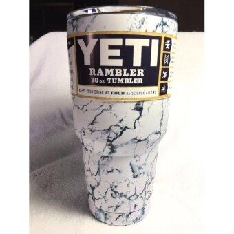 YETI Rambler Tumbler แก้วเยติ แก้วน้ำเก็บอุณหภูมิ YETI แก้วเก็บร้อน แก้วเก็บความเย็น แก้วกาแฟ แก้วเบียร์ ขนาด 30 ออนซ์ (MARBLE-whitePERLขาวมุก)