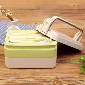 YHL กล่องใส่อาหาร ปิ่นโต กล่องอาหาร 3ชั้น พร้อม ช้อน ส้อม ตะเกียบผลิตจากวัสดุธรรมชาติ