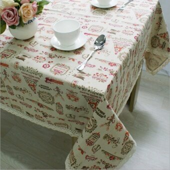 YingWei Christmas Theme Fashion Table Cloth with Lace ReindeerPrint Multifunctional Tablecloths Table (60 x 60cm) - intl