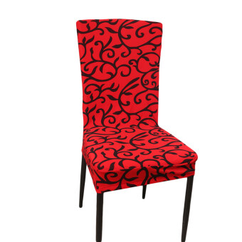 Yingwei Stretch Banquet Slipcovers Dining Room Wedding Party ShortChair Covers Protector Red Black