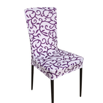 Yingwei Stretch Banquet Slipcovers Dining Room Wedding Party ShortChair Covers Protector White Purple