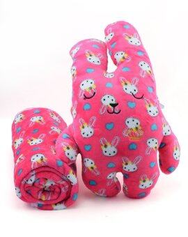 YMH ผ้าห่มตุ๊กตา Craft junior rabbit with blue heart สีบานเย็น
