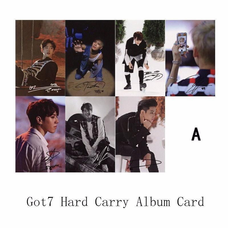 Youpop KPOP GOT7 Hard Carry Album Photo Card K-POP Self MadeSignature Paper Cards Autograph