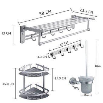 YSB CASSA ชุด SET อุปกรณ์จัดเก็บของและราวแขวนผ้าในห้องน้ำอลูมิเนียม 4 ชิ้น