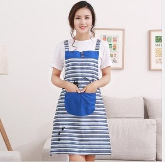 ZH creative kitchen anti-fouling and oil-proof fashionable checked apron(blue) - intl