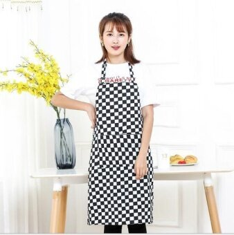 ZH creative polyester custom-made cotton Korean edition kitchen waterproof apron(black) - intl