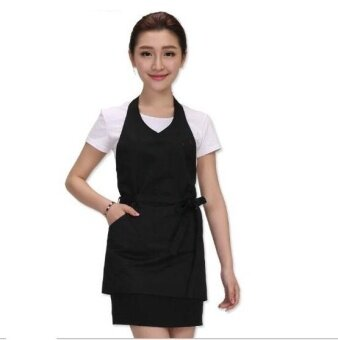 ZH women's fashion cafe milk tea kitchen pure cotton waiters working apron(black) - intl