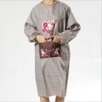 ZH women's modern simple creative fashionable household has sleeve waterproof apron(coffee) - intl