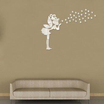 ZUNCLE 36pcs Angel Fairy Stars Modern Mirror Stickers Wall HomeDecal Decor Art DIY - Silver