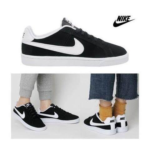 เก็บเงินปลายทางได้ Nike รองเท้า ผ้าใบ ผู้หญิง ลำลอง ไนกี้ Court Royale Black White สบายเท้า ลิขสิทธิ์แท้ การันตี ส่งไวด้วย kerry!!!