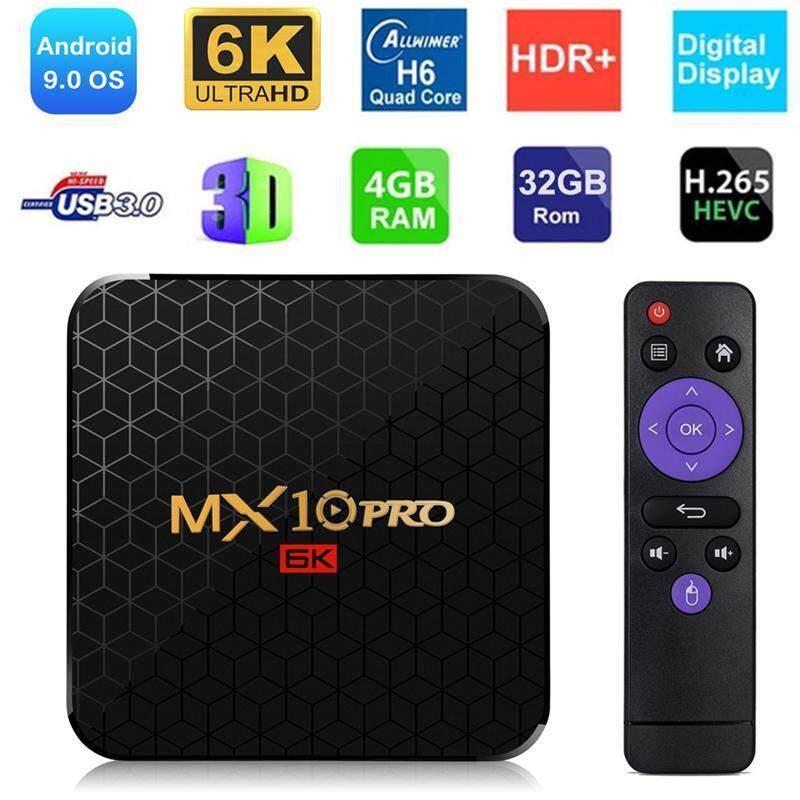 ตาก ใหม่ MX10 PRO TV Box Android 9.0 Full HD H6 6K HD Display 4 + 32/4 + 64 หน่วยความจำขนาดใหญ่ TVBOX