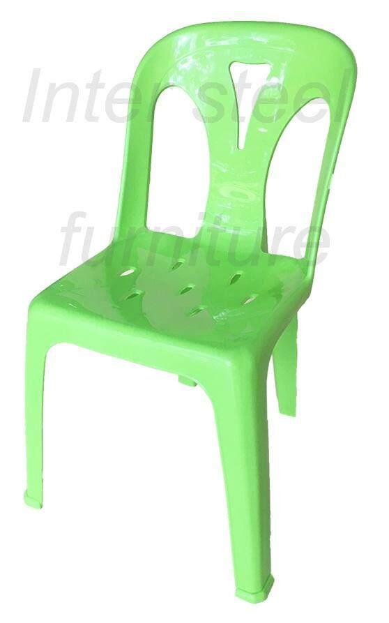 เช่าเก้าอี้ โคราช Inter Steel เก้าอี้พลาสติก เกรดA มีพนักพิง รุ่นหลังY - สีเขียวสด Plastic chair  Grade A  with backrest  Y-Green