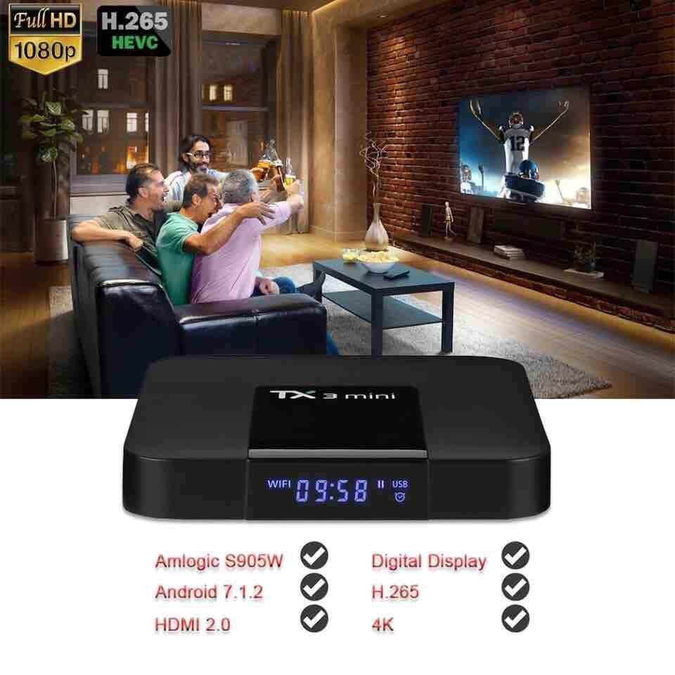 ยี่ห้อไหนดี  ตาก Nikytek-TX3 Mini Android 7.1.2 Tv Box Smart TV H2.65 IPTV 4K Set Top Box Media Player Amlogic S905W 2G RAM/16G ROM 2.4G WiFi