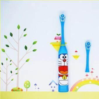 แปรงสีฟันไฟฟ้าเพื่อรอยยิ้มขาวสดใส ระยอง 1 ชุดแปรงสีฟันไฟฟ้าการ์ตูนรูปแบบหัวแปรงฟันสำหรับเด็ก 2 หัว