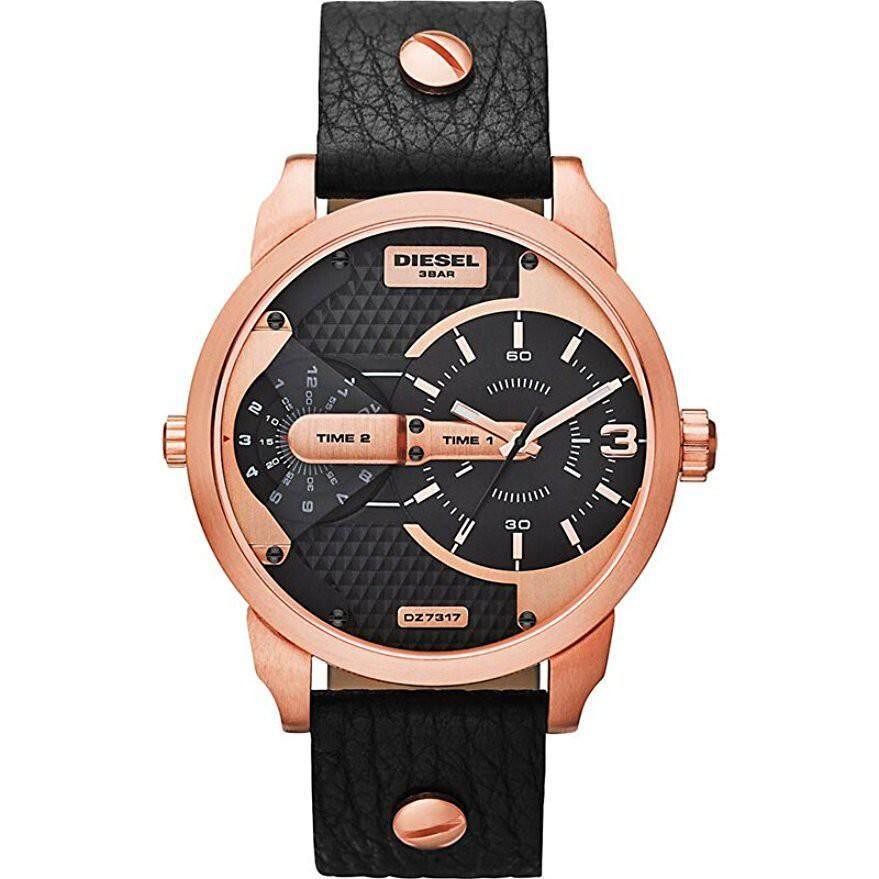 ยี่ห้อนี้ดีไหม  ระนอง ดีเซล DZ7317 ผู้ชาย MINI Daddy Analog Display นาฬิกาควอตซ์นาฬิกาข้อมือสีดำ