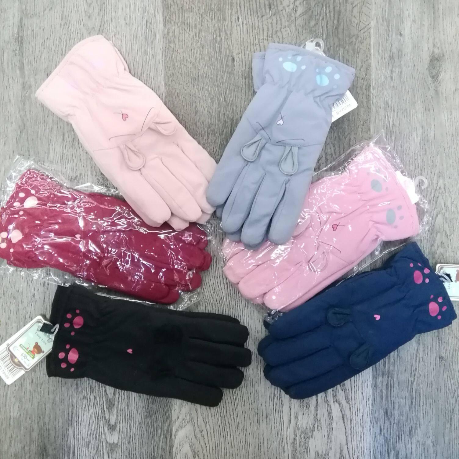 ถุงมือสกีกันหิมะเด็กหญิงมีบุขนนิ่มๆด้านในสีสดใส