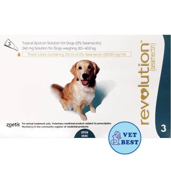สุดยอดสินค้า!! Revolution เขียว (สุนัข 20-40 กก.)  EXP: 06/2020 +ส่ง KERRY+ เรฟโวลูชั่น ยาหยอดกำจัด เห็บ หมัด  ไร พยาธิหัวใจ ( 1กล่อง 3หลอด)