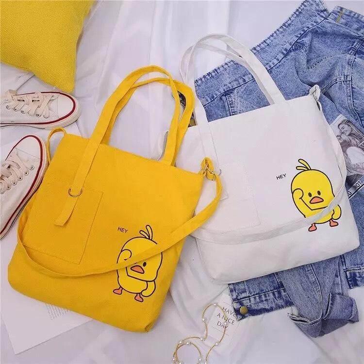 กระเป๋าถือ นักเรียน ผู้หญิง วัยรุ่น กระบี่ กระเป๋าสะพายเป็ดน้อยน่ารัก ผ้าดี ใช้ได้หลายแบบ เก๋ๆ