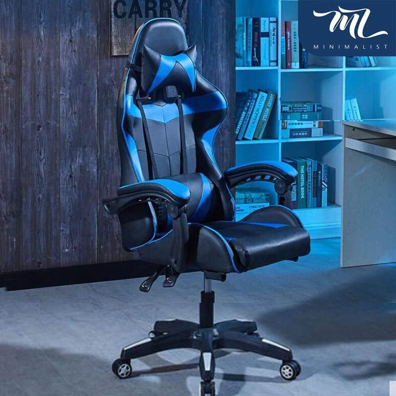 Minimalist Style เก้าอี้เกม เก้าอี้ทำงาน เก้าอี้คอม เก้าอี้นอน เก้าอี้สำนักงาน เก้าอี้เล่นเกม ESPORT เก้าอี้เกมมิ่ง Gaming Chair ปรับความสูงได้ 10 ซม. นั่งสบาย หมุนได้360° รุ่น HM808