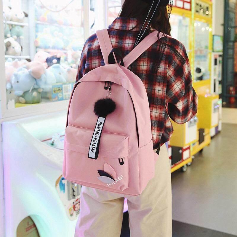 กระเป๋าถือ นักเรียน ผู้หญิง วัยรุ่น ตรัง กระเป๋าป้สีสันสวยน่ารักมีปอมๆสุดคิววว์ B603